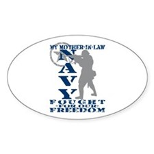 Mother-n-Law Fought Freedom - NAVY Oval Decal