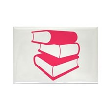 Stack Of Pink Books Rectangle Magnet (10 pack)