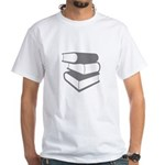 Stack Of Gray Books White T-Shirt