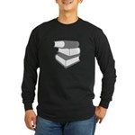 Stack Of Gray Books Long Sleeve Dark T-Shirt