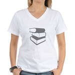 Stack Of Gray Books Women's V-Neck T-Shirt