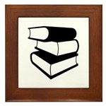 Stack Of Black Books Framed Tile