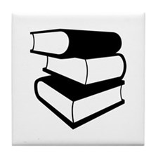 Stack Of Black Books Tile Coaster
