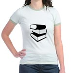 Stack Of Black Books Jr. Ringer T-Shirt