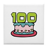 100th Birthday Cake Tile Coaster
