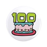 "100th Birthday Cake 3.5"" Button"