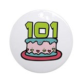 101st Birthday Cake Ornament (Round)