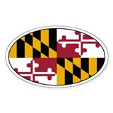 Maryland State Flag Oval Bumper Stickers