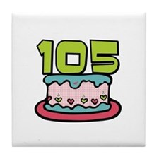 105th Birthday Cake Tile Coaster