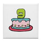 9th Birthday Cake Tile Coaster