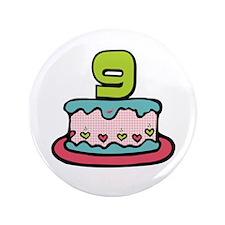 "9th Birthday Cake 3.5"" Button"