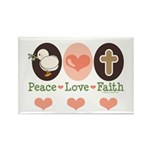 Peace Love Faith Christian Rectangle Magnet (100 p