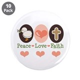 "Peace Love Faith Christian 3.5"" Button (10 pack)"