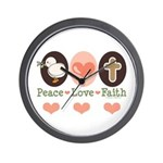 Peace Love Faith Christian Wall Clock