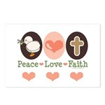Peace Love Faith Christian Postcards (Package of 8