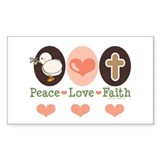 Peace Love Faith Christian Rectangle Decal