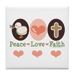Peace Love Faith Christian Tile Coaster