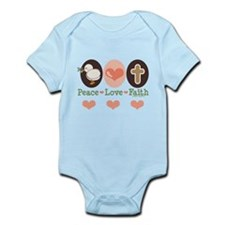 Peace Love Faith Christian Infant Bodysuit