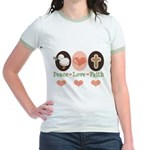 Peace Love Faith Christian Jr. Ringer T-Shirt