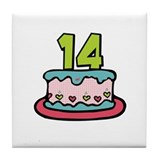 14th Birthday Cake Tile Coaster