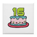 16th Birthday Cake Tile Coaster