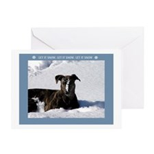 Greyhound Snow Greeting Card