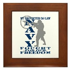 Dghtr-n-Law Fought Freedom - NAVY  Framed Tile