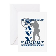 Dghtr-n-Law Fought Freedom - NAVY  Greeting Cards