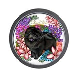 Black Chow Chow Dog Flowers Wall Clock