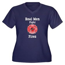 Real Men Fight Fires Women's Plus Size V-Neck Dark