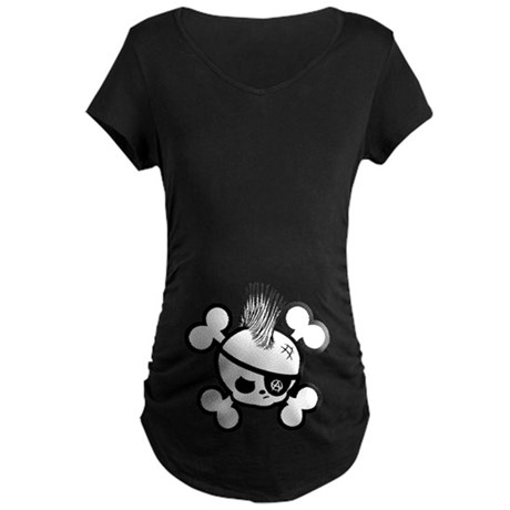 Punkin Pirate -bw Maternity Dark T-Shirt