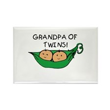 Grandpa of Twins Pod Rectangle Magnet