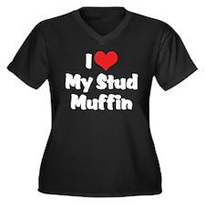 I Love My Stud Muffin Women's Plus Size V-Neck Dar