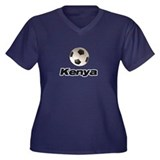 Soccer Kenya Women's Plus Size V-Neck Dark T-Shirt