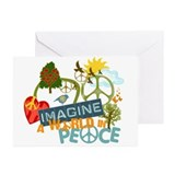 Imagine Peace Abtract Art Greeting Cards (Pk of 10