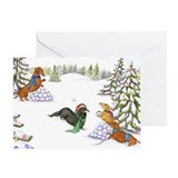 Dachshund Snowball Fight Christmas Card