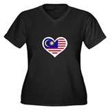 Malaysia Love Women's Plus Size V-Neck Dark T-Shir