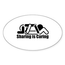 Sharing is Caring Oval Stickers