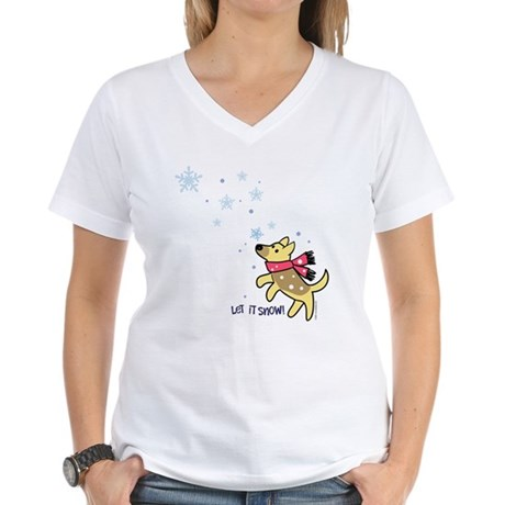 German Shepherd - Snow Women's V-Neck T-Shirt