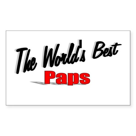 """The World's Best Paps"" Rectangle Sticker"