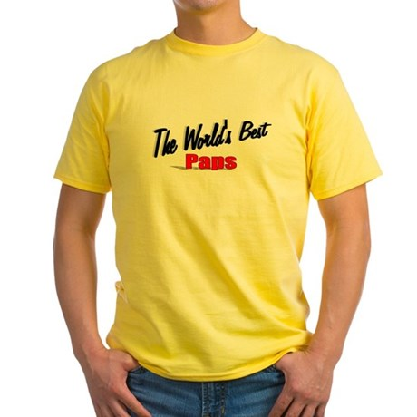 """The World's Best Paps"" Yellow T-Shirt"