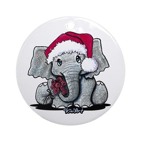 Holiday Elephant Ornament (Round)