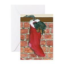 Dachshund Stocking Christmas Card