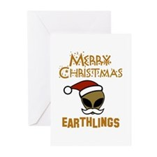 Merry Christmas Earthlings Greeting Cards (Pk of 2