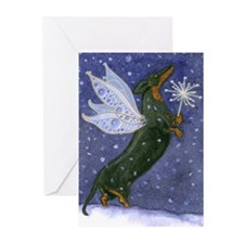 Dachshund Snow Fairy Christmas Cards (20)