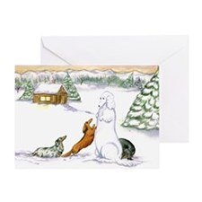 Longhaired Snow Doxies Christmas Card