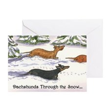 Dachshunds Thru Snow Christmas Card