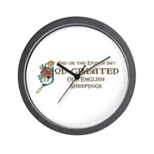 God Created Sheepdogs Wall Clock