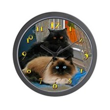 BLACK PERSIAN & HIMALAYAN CATS WALL CLOCK