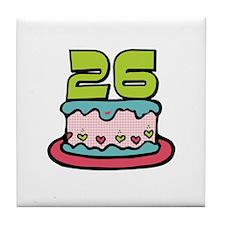26th Birthday Cake Tile Coaster